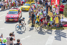 Zwei Radfahrer auf Col. du Glandon - Tour de France 2015 Stockfoto