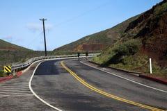 Zwei Radfahrer, die oben Hügel-Kurven-Straße gehen Lizenzfreie Stockfotos