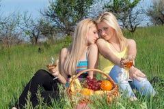 Zwei recht blond mit Weingläsern Lizenzfreie Stockfotos