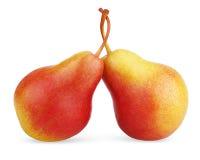 Zwei reife rot-gelbe Birnenfrüchte Lizenzfreie Stockfotos