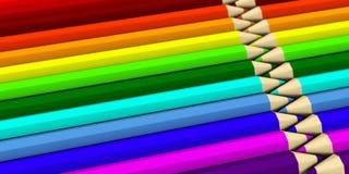 Zwei Reihen, die neben einander farbige Bleistifte liegen Stockfoto
