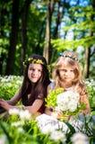 Zwei reizende Mädchen blond und Brünette Lizenzfreie Stockfotos