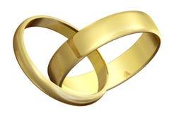 Zwei Ringe der goldenen Hochzeit stockbilder