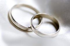 Zwei Ringe der silbernen Hochzeit stockbilder