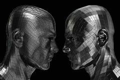 Zwei Roboter im Profil, das einander betrachtet Lizenzfreies Stockbild