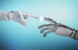 Zwei Roboter ` s Handnoten Wiedergabe 3d Stockbilder