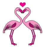 Zwei rosa Flamingos in der Liebe Stockfotografie