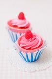 Zwei rosa kleine Kuchen stockfotos