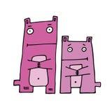 Zwei rosafarbene nette Zeichen, vektorabbildung Stockfoto