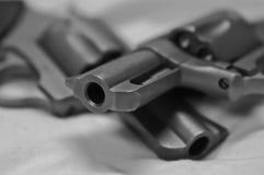 Zwei rostfreie Revolver, ein 44spl und ein Magnum 357 auf gegenseitig stockfotografie