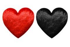 Zwei rot-schwarze Herzen Lizenzfreie Stockbilder