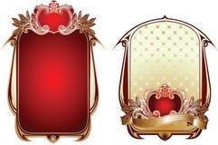 Zwei rot und Goldaufwändige Hintergründe. Stockfotografie