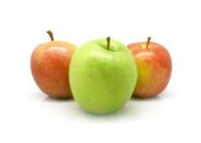 Zwei rote Äpfel und ein grüner Apfel Lizenzfreie Stockbilder