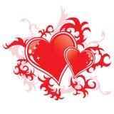 Zwei rote Herzen lizenzfreie abbildung
