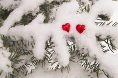 Zwei rote Herzen auf dem Hintergrund eines schneebedeckten Winterbaums lizenzfreies stockfoto