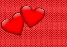 Zwei rote Herzen auf einem Herzhintergrund Stockfotos