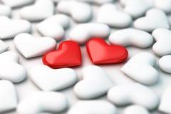 Zwei rote Herzen 3d auf weißem Herzhintergrund Lizenzfreie Stockfotografie