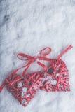 Zwei rote Herzen der schönen romantischen Weinlese gebunden zusammen mit Band auf weißem Schneehintergrund Liebe und St.-Valentin Lizenzfreies Stockbild
