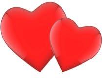 Zwei rote Herzen mit Reflexionen Lizenzfreie Stockfotografie