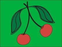Zwei rote Kirschen Stockfoto