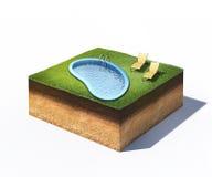 Zwei Ruhesessel und Wasserpool auf Querschnitt Boden mit dem Gras lokalisiert auf Weiß Stockfotografie