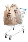 Zwei Säcke voll Euro im Einkaufswagen Stockbilder