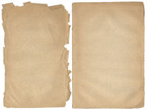 Zwei schäbige Leerseiten mit fragmentarischen Rändern. lizenzfreies stockbild
