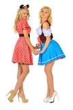 Zwei schöne blonde Frauen in den Karnevalskostümen Lizenzfreies Stockfoto