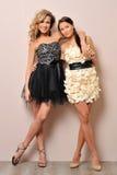 Zwei schöne Frauen in den Abendkleidern. Lizenzfreie Stockfotografie