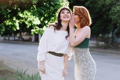 Zwei schöne Frauen-Unterhaltung stockfoto
