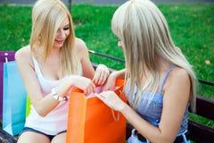 Zwei schöne Freundinnen mit Einkaufenbeuteln stockbild