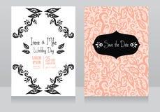 Zwei schöne Hochzeitseinladungen lizenzfreie abbildung