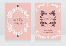 Zwei schöne Hochzeitseinladungen vektor abbildung