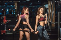 Zwei schöne junge Eignungsmädchen, die mit Sportausrüstung in der Turnhalle aufwerfen Aufstellung mit Barbell Stockbilder