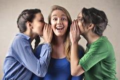 Zwei schöne junge Frauen, die bei der Stellung lokalisiert auf Weiß klatschen lizenzfreies stockfoto