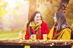Zwei schöne junge Frauen, die an einem Herbsttag sprechen und genießen stockbild