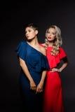 Zwei schöne Mädchen in den Abendkleidern, die über grauem Hintergrund aufwerfen Lizenzfreie Stockfotos
