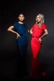 Zwei schöne Mädchen in den Abendkleidern, die über grauem Hintergrund aufwerfen Stockfotografie
