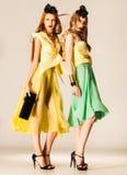 Zwei schöne Mädchen kleideten in den Sommerkleidern an Stockfotografie