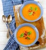 Zwei Schüsseln Karottensuppe lizenzfreie stockbilder