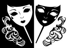 Zwei Schablonen für eine Maskerade. Stockbild