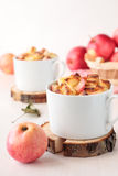 Zwei Schale Weizenbrotpudding mit Äpfeln stockfotografie