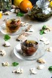 Zwei Schalen oolong Tee-Glas Lizenzfreies Stockbild