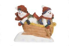 Zwei Schneemänner stockfotografie