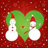 Zwei Schneemänner, Weihnachtskarte Lizenzfreie Stockfotografie