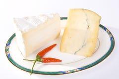 Zwei Schnitte französischer Käse mit rotem Paprika Lizenzfreie Stockbilder