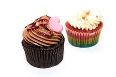 Zwei Schokoladen-kleine Kuchen lizenzfreie stockbilder