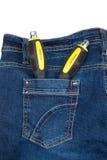Zwei Schraubenzieher in der Jeanstasche Stockfoto