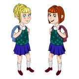 Zwei Schulmädchen in der Uniform Lizenzfreies Stockfoto
