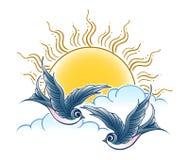 Zwei Schwalben-Fliegen im Himmel stock abbildung